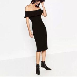 Zara Off the shoulders black pencil dress